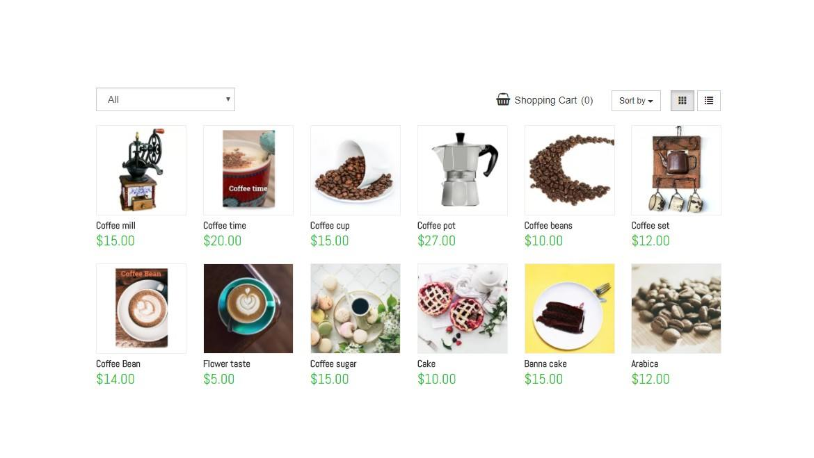 E-Commerce Features customizable view