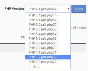 Choose your PHP version per domain