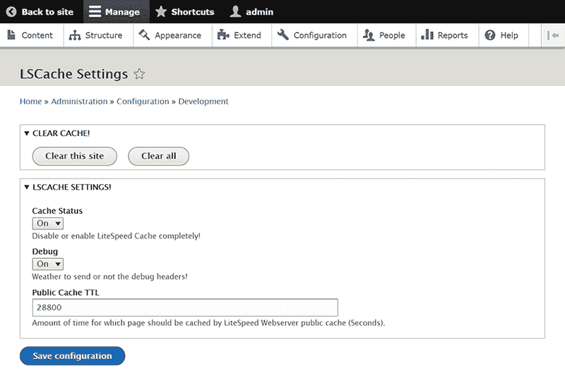 Drupal Hosting LSCache settings