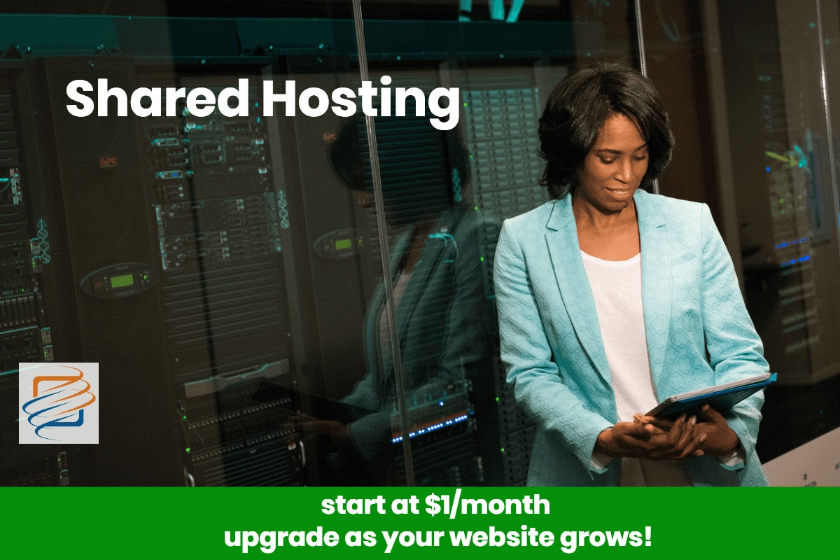 Worker in shared hosting datacenter checking iPad