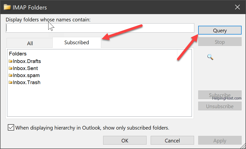 Fix Outlook hangs on synchronizing subscribed folders Step 2