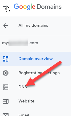 Click on DNS on the left
