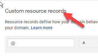 Scroll to custom resource records