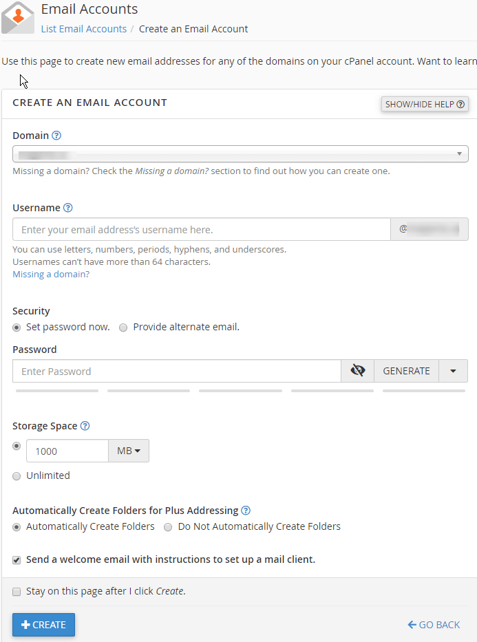 Create an Email account Step 3