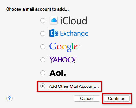 Mac OS X mail Setup Step 2
