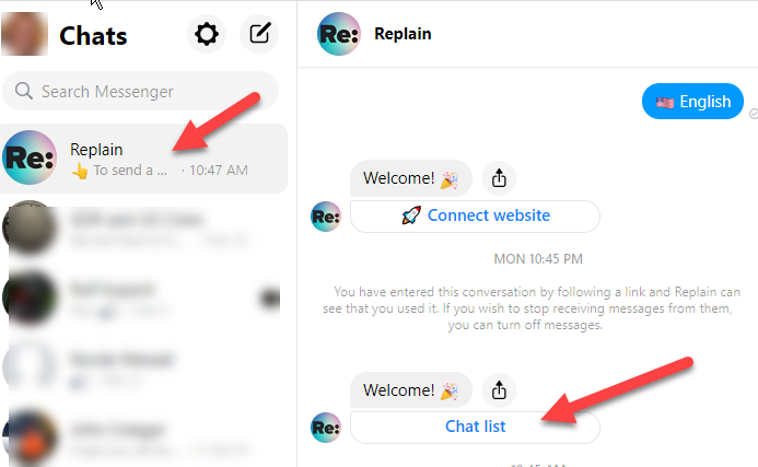 Manage Re:Plain via Facebook Messenger